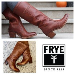 FRYE Jane Tall Heeled Pull On leather Riding boot